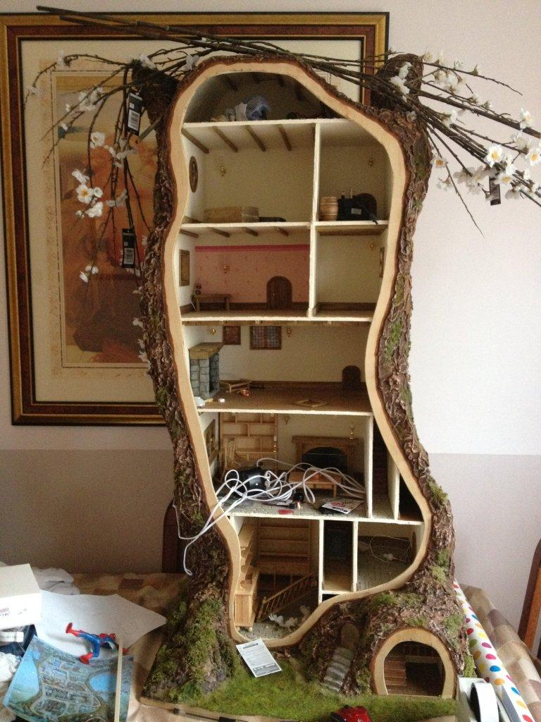How i made the miniature mouse tree house my miniature for How to frame a house step by step